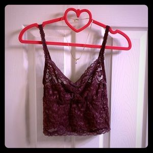Purple eggplant lace sheer fitted floral bralette